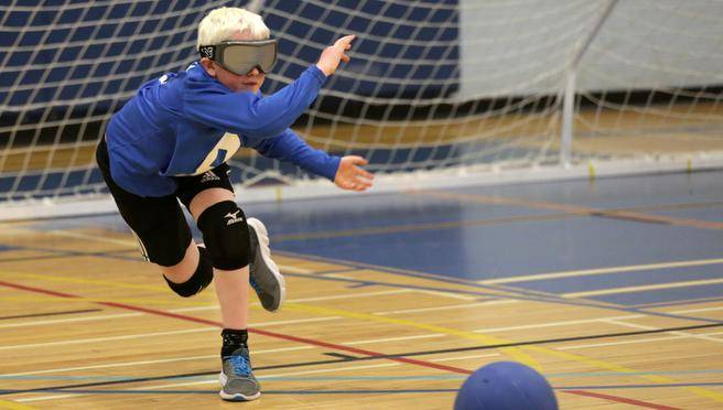 Caelin Lloyd, 11, unleashes a shot during the 2017 goalball tournament in Ottawa.