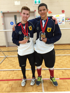 Simon Richard/Mason Smith with their Junior and Senior Goalball Natoals Gold medals
