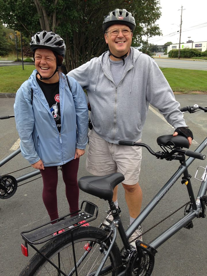 Milena K and her dad discovered they love biking together, now they're hooked. Here they are about to mount a tandem bike
