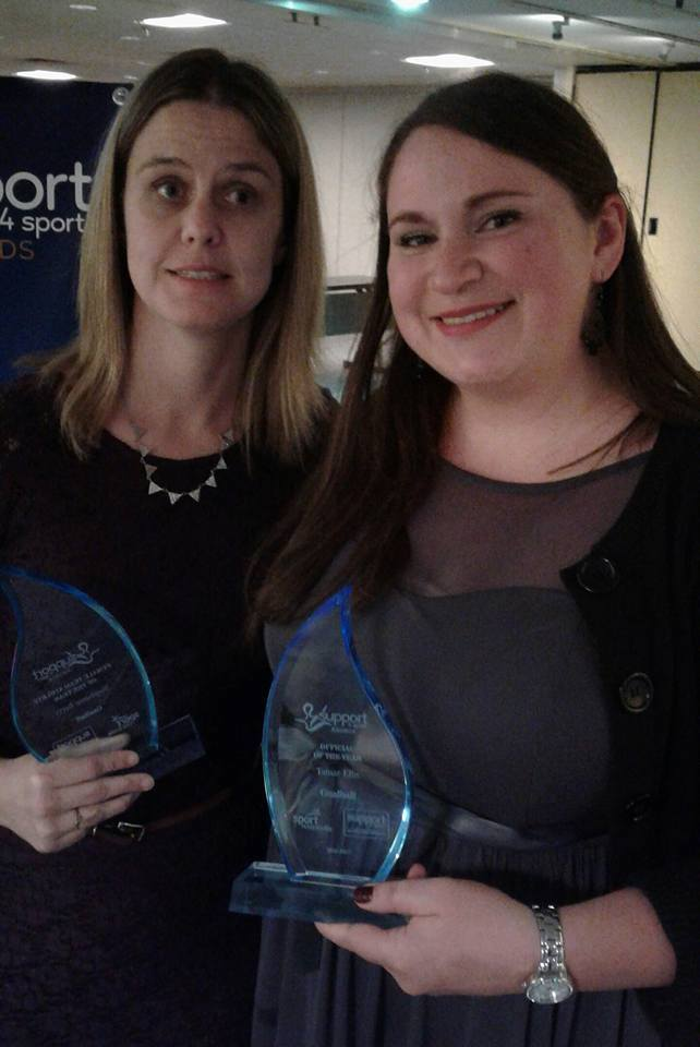 Sport Nova Scotia Suppor4Sport award recipients for goalball, Stephanie Berry, Female team athlete of the year, and Tamar Ellis, Official of the year. 2016-17
