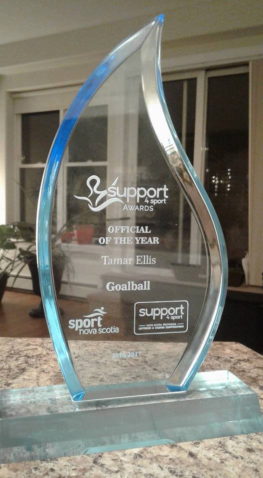 Sport Nova Scotia Support4Sport Official of the year trophy, awarded to Tamar Ellis for goalball 2016-17