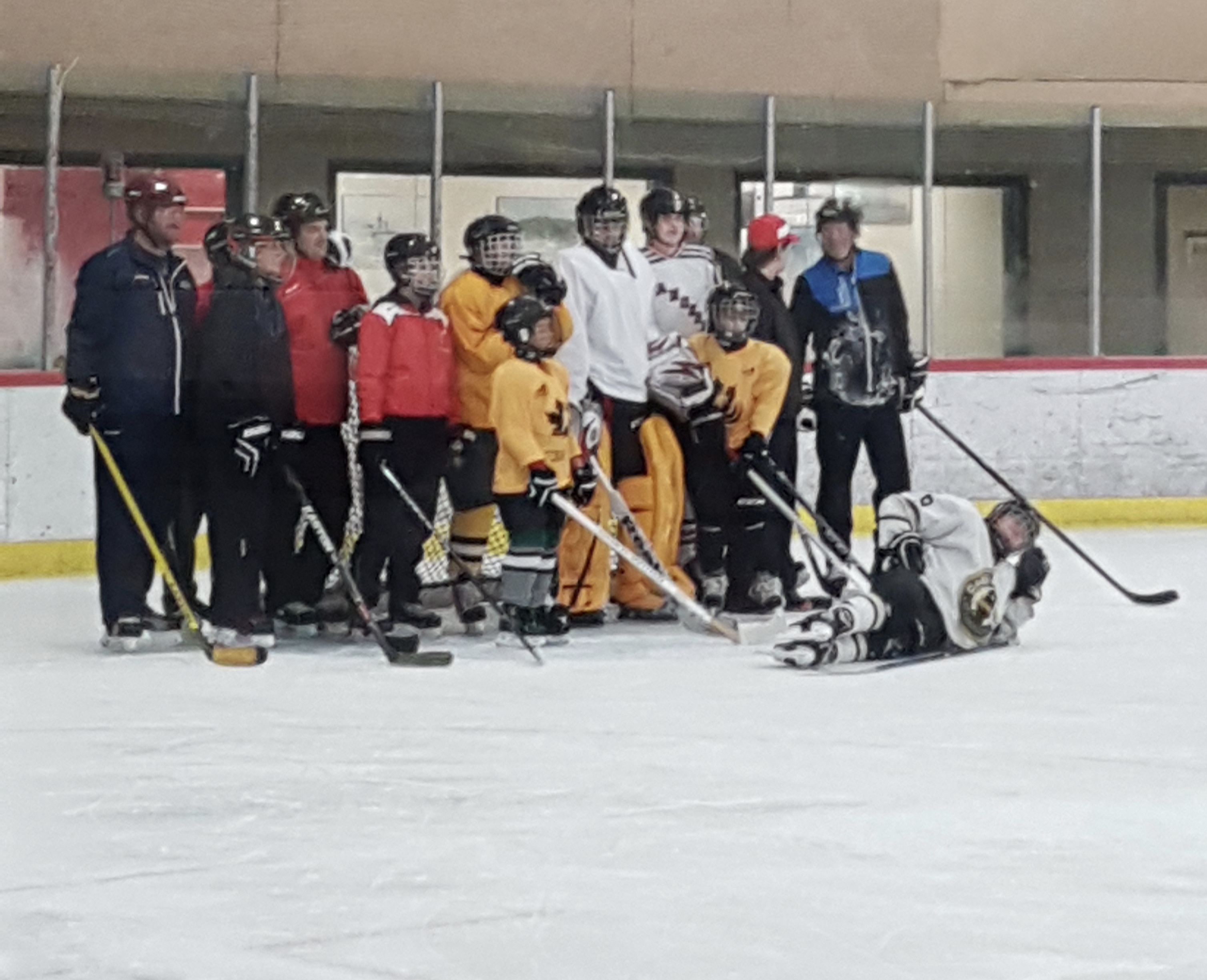 Group photo of Blind Hockey group on the ice