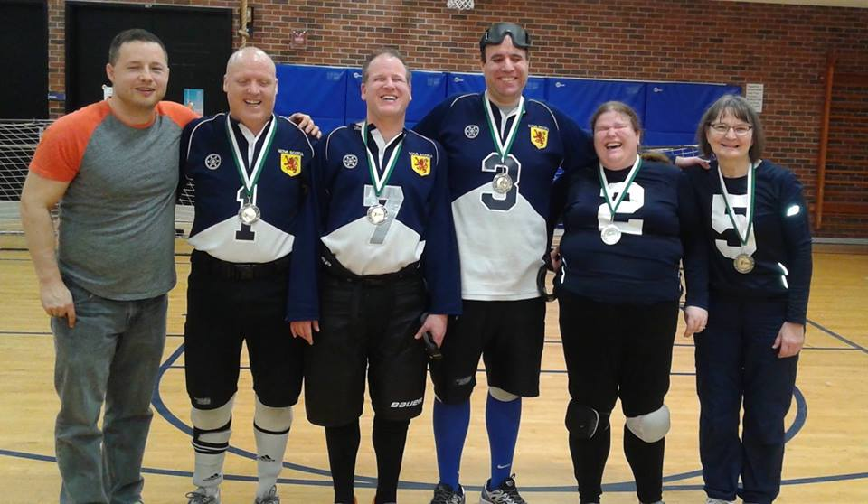 NS Ship Recs win gold a 2nd year in a row at ON Provincial/Eastern Goalball Tournament. From left to right: Peter Parsons (coach), Yvon Clement, Adam Noble, John Courtney, Jennifer MacNeil-Noble, Linda MacRae Triff (coach).