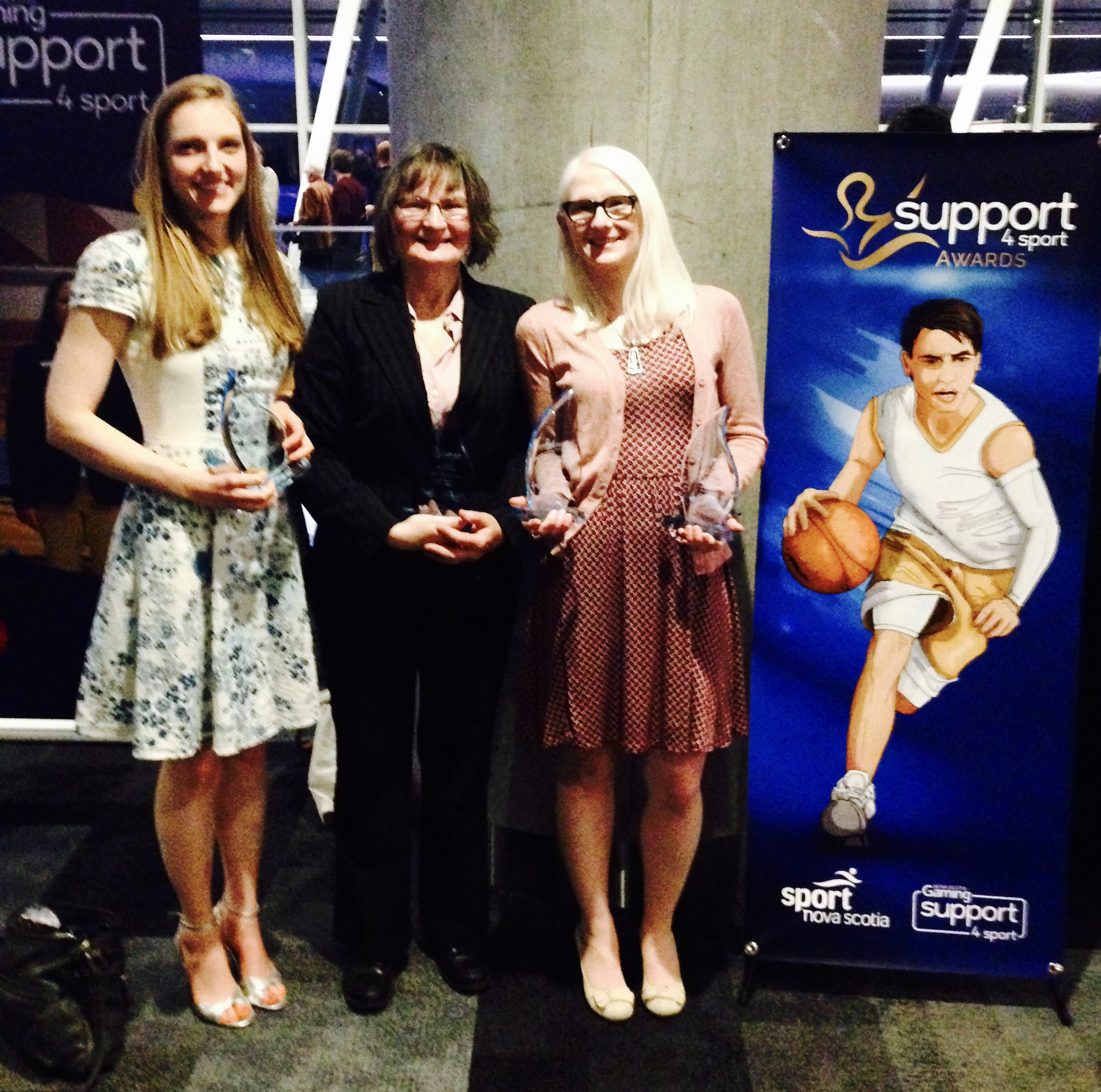 Support4Sport Volunteer of the Year, Coach of the Year, and Female Team Athlete of the 2017-18 year for Blind Sports Nova Scotia — with Beth Coish, Linda MacRae Triff and Jennie Bovard