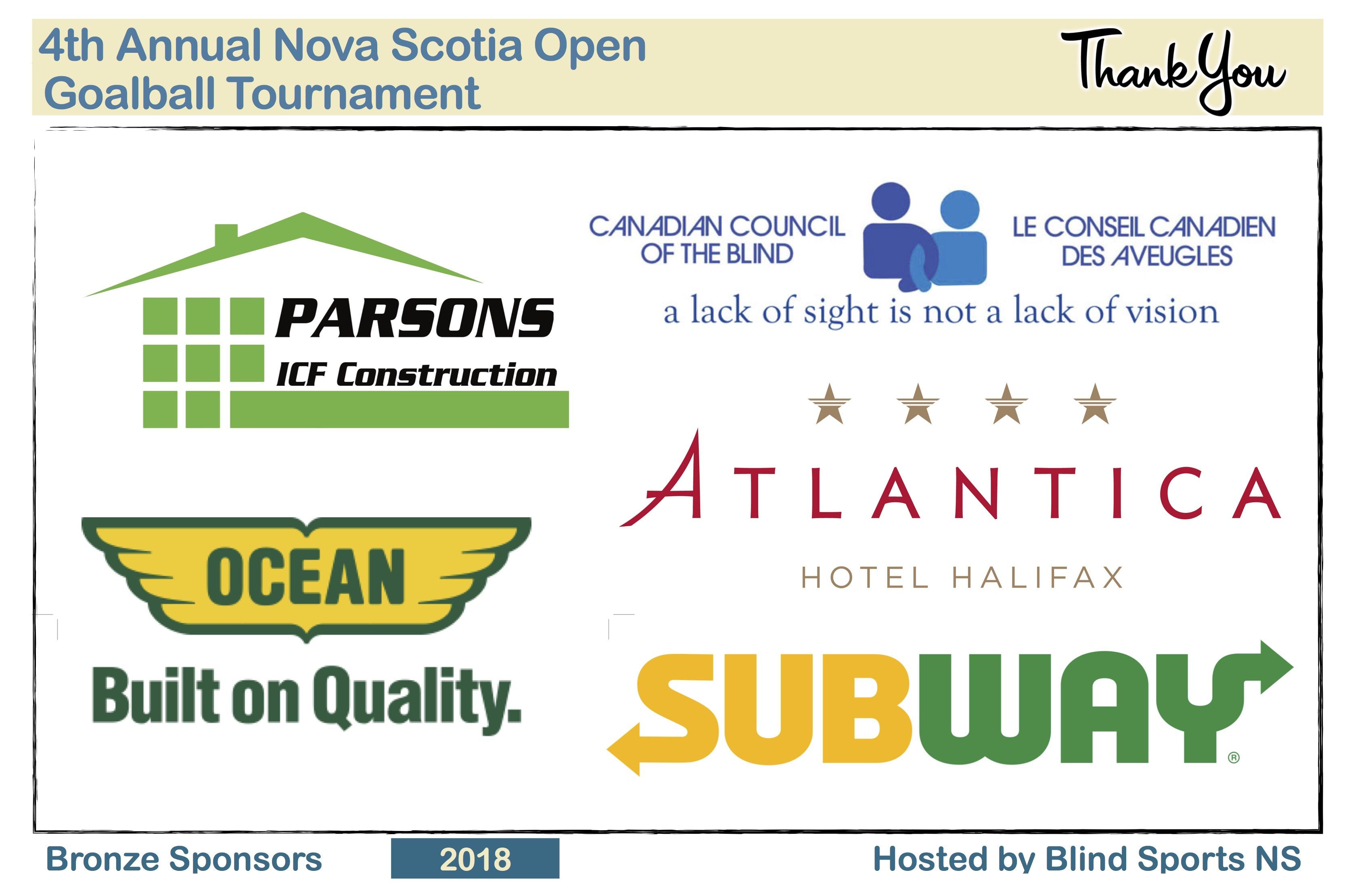 Bronze Sponsors: Parsons ICF Construction, Ocean - Built on Quality, Atlantica Hotel Halifax, Canadian Council of the Blind, and Subway.