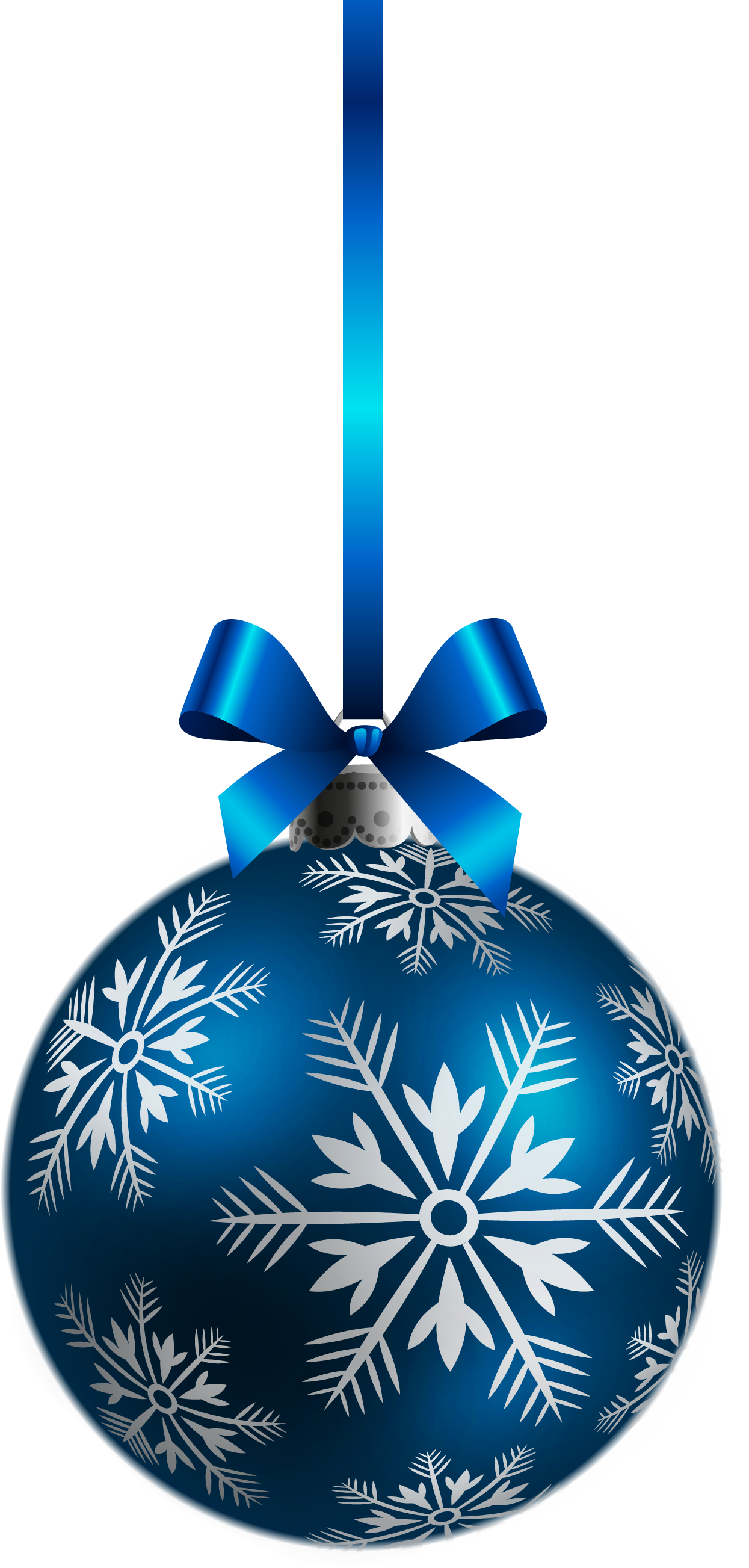 Blue holiday ornament with white snowflakes