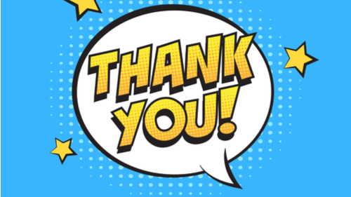 Thank You, big yellow text, inside a comic book style speech bubble on a blue background